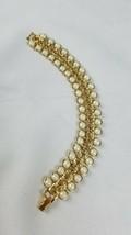 Vintage cuff bracelet gold tone links white beads costume jewelry - $21.08