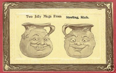 Sterling Mi Comic Jolly Mugs Michigan 1912 Postcard BJs