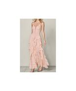 Venus Lace Up Ruffle Maxi Dress Light Pink Size 1X NEW - $49.49