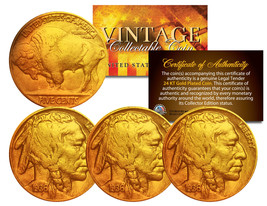 Lot of 3 Various Full Date BUFFALO NICKELS US Coins 24K Gold Plated Indi... - $10.84