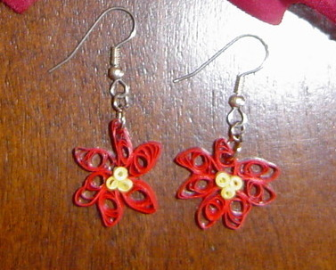 Paper Quilled Handcrafted Red Poinsettia Earrings