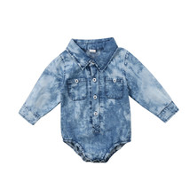 Toddler Infant Kids Baby Boy Girl Long Sleeve Denim  Romper Jumpsuit Clo... - $10.29+