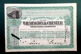 1898 antique WILMINGTON and CHESTER TRACTION CO. STOCK CERT e.w.clark TR... - $67.95