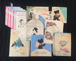 Set of 9 Vintage 30s illustrated Graduation card art (Set A)