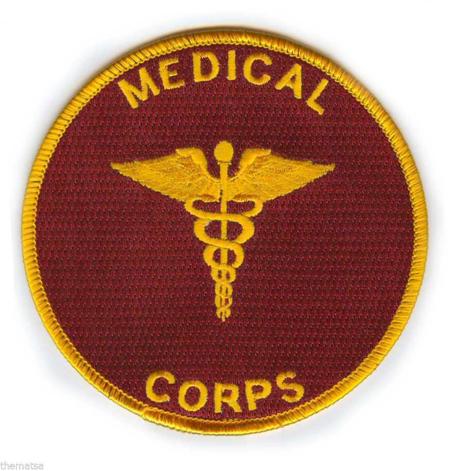 "ARMY MEDICAL CORPS  4"" EMBROIDERED MILITARY BRANCH  CADACEUS PATCH"
