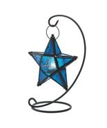 TABLE LANTERN Sapphire Star matte black metal and pressed glass  - $16.99