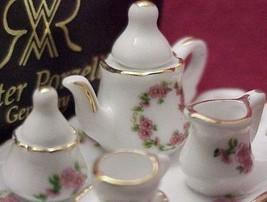 DOLLHOUSE Miniature Tea Set for 1 Lisa Pattern Reutter Porcelain 625/8 gemjane - $21.75