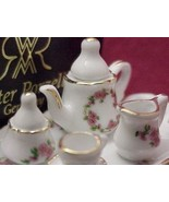 DOLLHOUSE Miniature Tea Set for 1 Lisa Pattern ... - $21.75