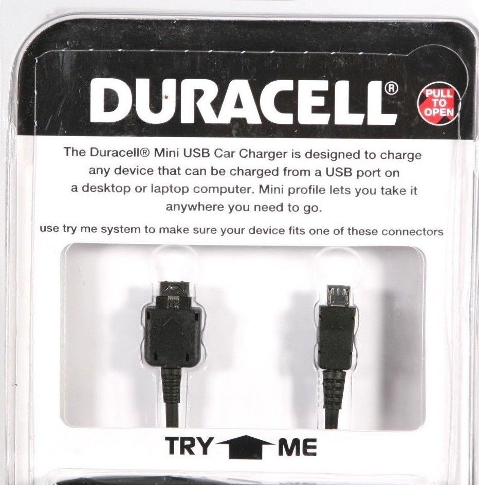 Duracell Mini USB Car Charger for LG Phones NEW