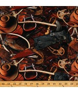 Cotton Cowboys Cowboy Boots Spurs Hats Western Fabric Print by the Yard D462.61 - $14.95