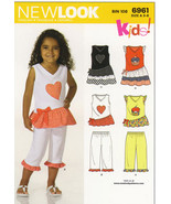 New Look Pattern 6961 Girls Top and Capris Size 3, 4, 5, 6, 7 and 8 - $6.00