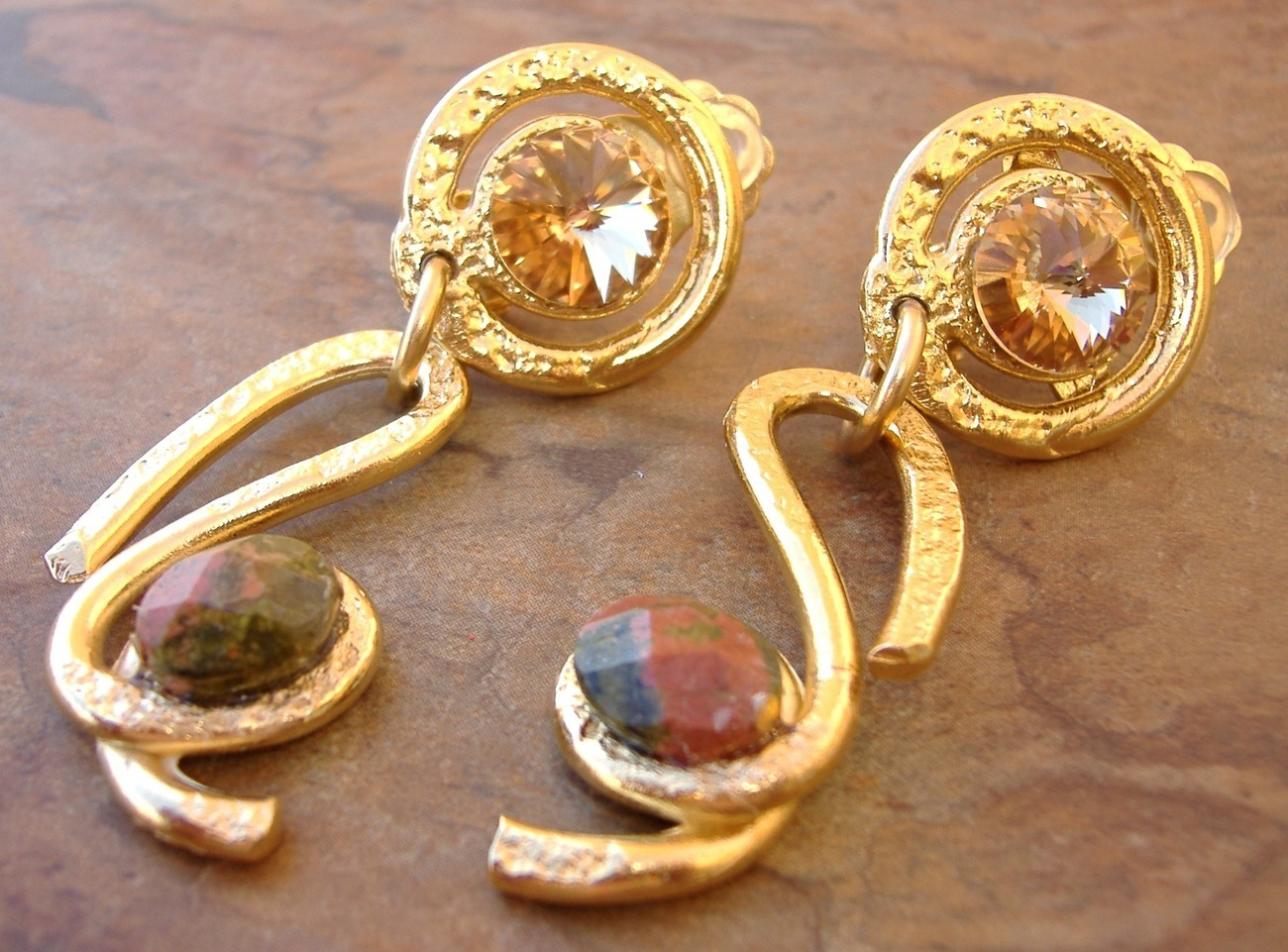 Amber Crystal Dangle Earrings Handcrafted Semi Precious Stone Gold Clip-On
