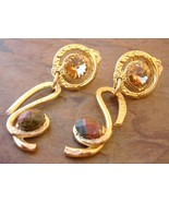 Amber Crystal Dangle Earrings Handcrafted Semi Precious Stone Gold Clip-On  - $89.00