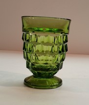 Vintage 60s Indiana Whitehall Colony Cubist Avocado Green Footed Tumblers - $7.99