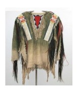 Native American Buckskin Beige Green Buffalo Leather Bead Powwow War Shi... - $269.10