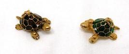 Joan Rivers Noah's Ark Turtles Charm Set Pair Gold Tone Chain Green Brow... - $60.00