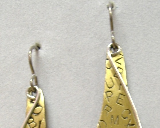 Letter Drop Earrings Mixed Metal Unique Brass Handcrafted Dangle