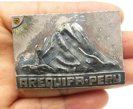 925 Silver - Vintage Citrine Sculpted Mountain Arequipa Peru Brooch Pin ... - $106.68
