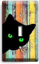 Peeking Black Cat Green Eyes Rustic Wood 1 Gang Light Switch Wall Plate Hd Decor - $8.99