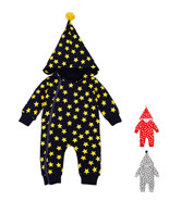 StylesILove Baby Stars All-over Print Hooded Zip-Front Coverall Romper - $9.99