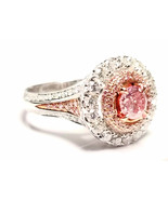 Engagement Ring 1.80ct Natural Fancy Intense Pink Color GIA Round 18K Solid Gold - $33,153.40