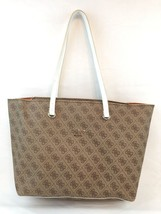 GUESS Women's Audrey Light Brown/White Quattro G Tote Shopper Handbag - $47.21