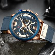 Mens Watches CURREN Top Brand Luxury Leather Sports Watch Men Fashion Chronograp - $54.50