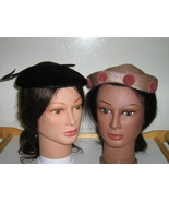 Vintage Ladies' Hats-Black Faux Fur with Feathe... - $12.00