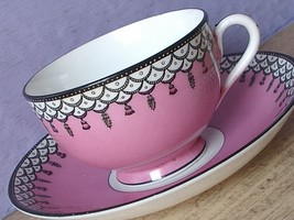 Antique 1920's England pink black and white art deco bone china tea cup ... - $48.51