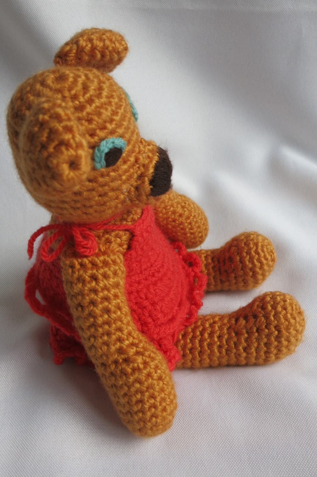 Handcrafted Honey Teddy Bear Girl Soft Toy - Crochet Animal - Amigurumi Bear