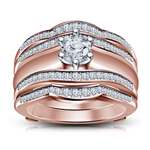 14k Rose Gold Finish Sterling Silver White Lab Created Diamond New Wrap Ring Set - $173.84