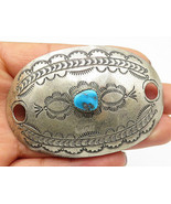 DJ ROYSTON NAVAJO 925 Silver - Vintage Turquoise Etched Slide Pendant - ... - $56.71