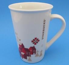 2013 Starbucks Christmas Coffee Mug Red Brown Town Trees 12 oz - $15.88