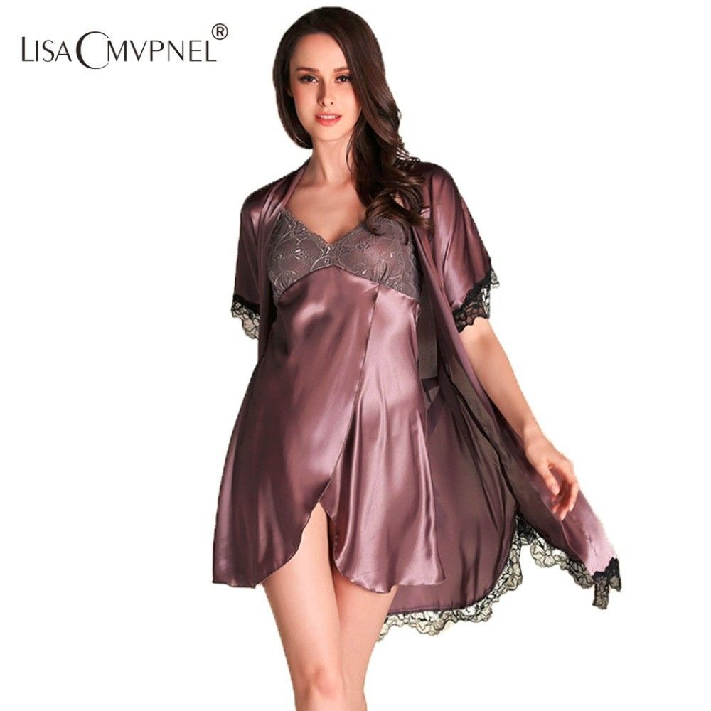Primary image for 2 Pcs Lace Robe Nightgown Silk Women Pajamas Sexy Robe Sets Elegant Cardigans