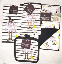 "Halloween Kitchen Linen Set Decor  "" No Witchin' In My Kitchen!"" - $25.00"