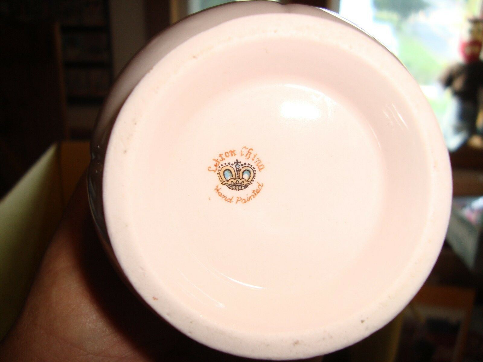 Lefton China Pitcher / Vase  Pink / White Flowers Hand Painted Gold Handle 7""