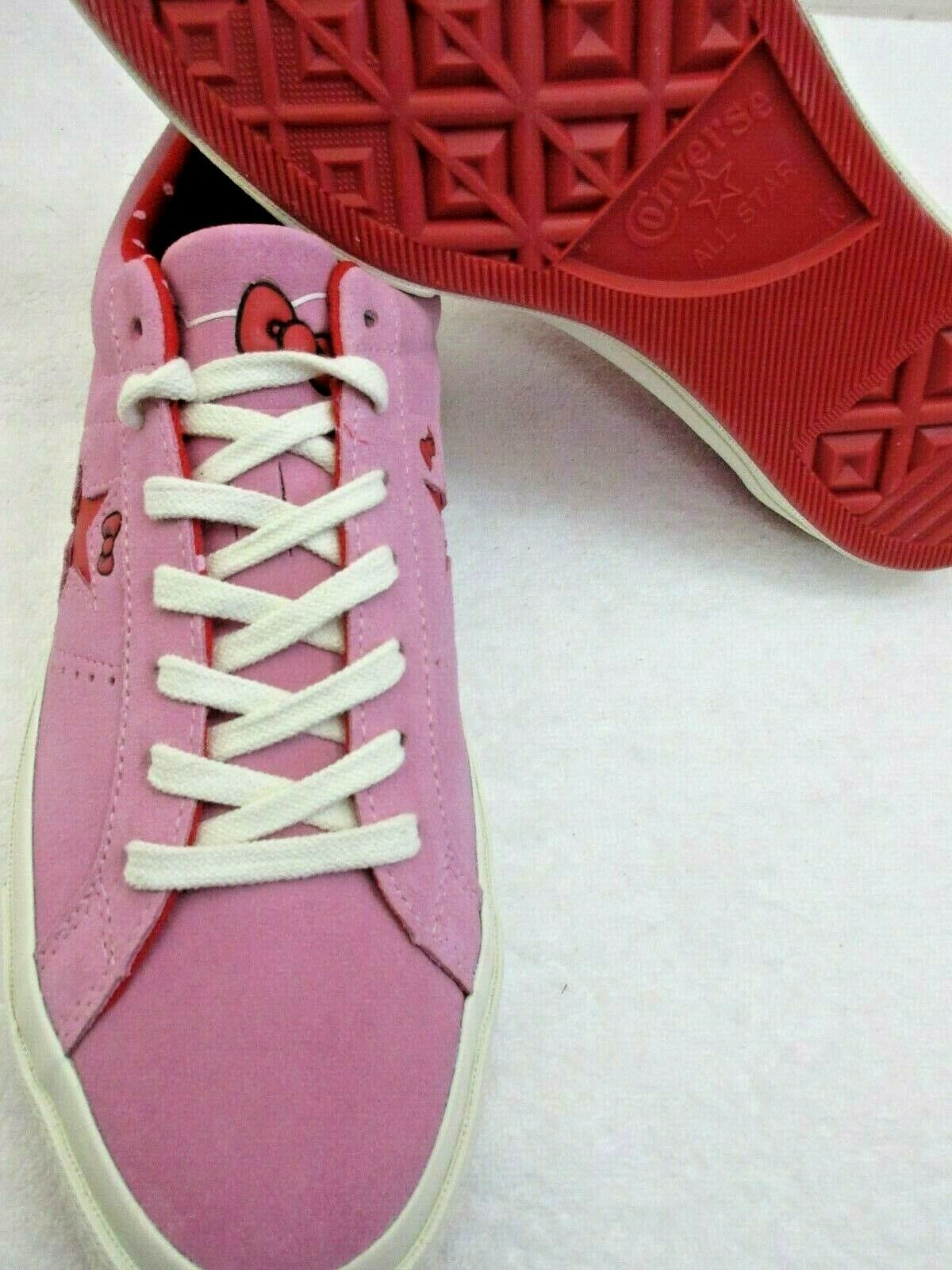 Converse One Star Ox Mens Hello Kitty Pink Prism Red Suede Shoes Size 10 New  image 4