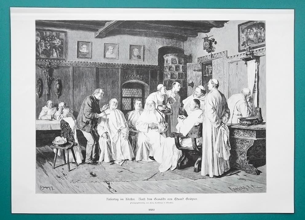Primary image for MONASTERY It's the Shaving Day by E. Grutzner - VICTORIAN Era Print
