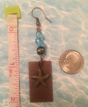 Weathered Brass Starfish with Sea Glass Earrings - $12.50