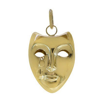 14K Yellow Gold Theater Crying Mask 3D Vintage Charm - $127.71