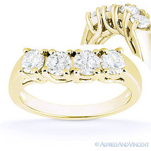 Round Cut Forever Brilliant Moissanite 14k Yellow Gold Curved Wedding Ring Band - $463.20+