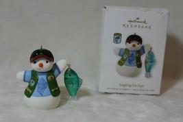 Hallmark Keepsake Fishing Snowman Angling for Fun Christmas Ornament & Box - $17.41
