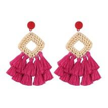 Best lady Geometric Tassel Drop Dangle Earrings For Women Jewelry Wooden... - $9.72