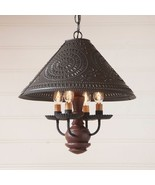 Country new HOMESPUN red hanging wood ceiling light w/ black punched ti... - $244.93