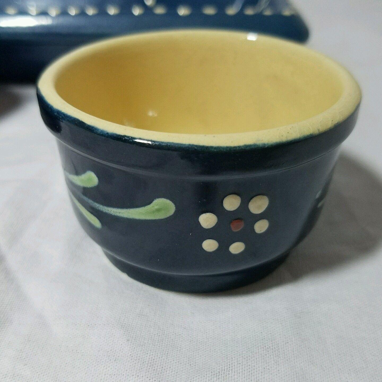 Cream And Sugar Set Dark Blue White Flowers Signed Elsa Ber Keramik Germany
