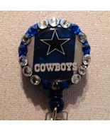 Nfl Dallas Cowboys Badge Reel Id Holder Swarovski Blue Silver Alligator ... - $10.99