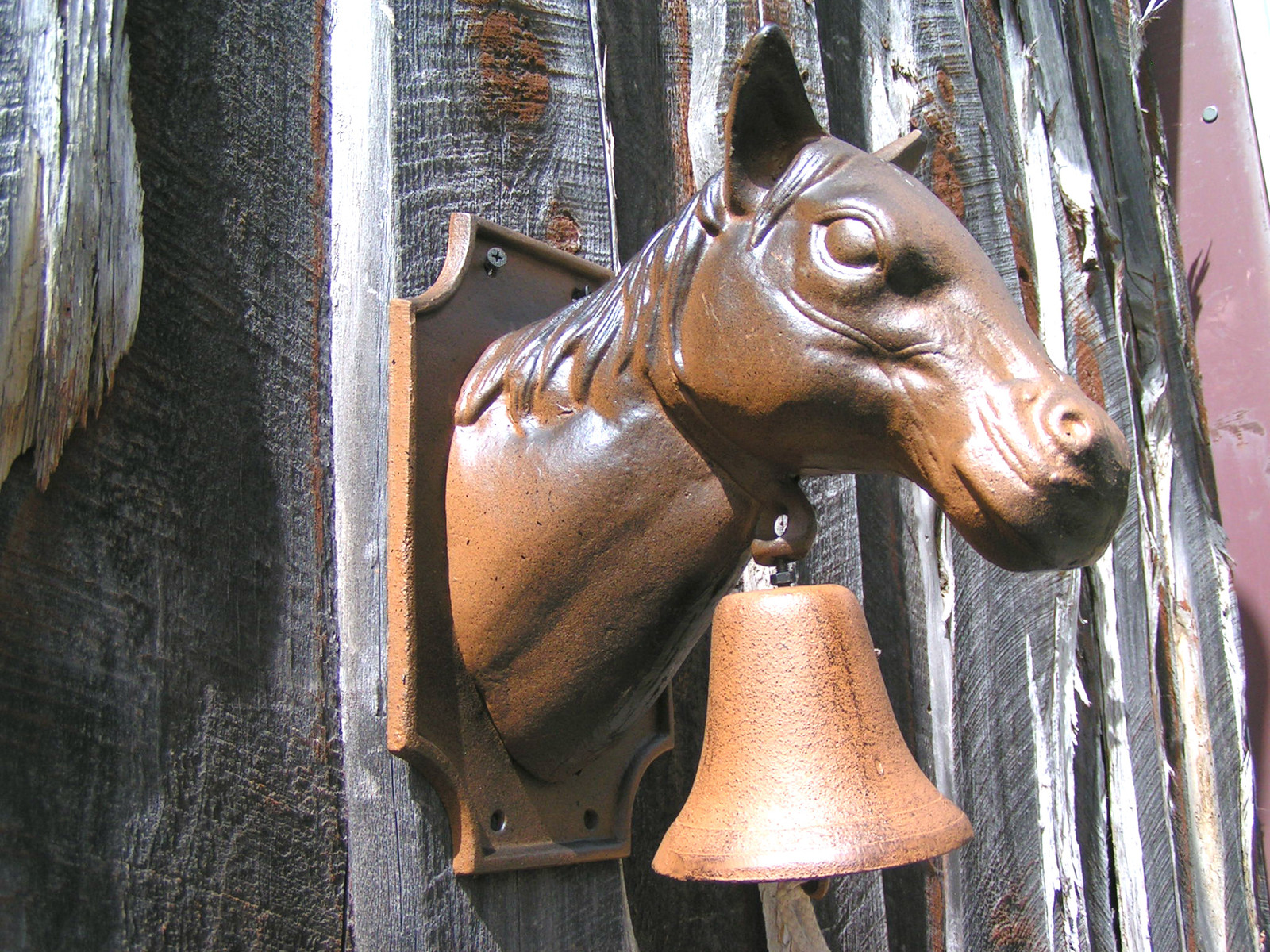 big Cast Iron Dinner BBQ Bell Western Horse Head Wall Hang bz