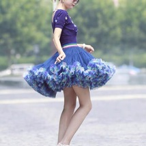 Women Above Knee Ruffle Layered Tulle Skirt Princess Plus Size Tiered Tutu Skirt image 6