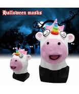 Unicorn Head Mask Full Face Weirdo Animal Horn Costume For Halloween Par... - $18.82