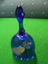 Beautiful Small FENTON Cobalt BELL Handpainted PEAR-Signed................. - $23.76